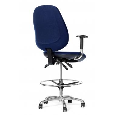 כסא יעיל נוע ארגונומי אנטי סטטי - ריפוד כחול בהיר, בוכנה גבוהה